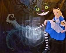 Alice and and Cheshire Cat Backdrop