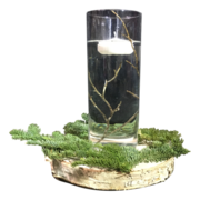 Birch Wood & Floating Candle Centerpiece