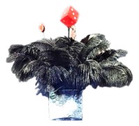 Black Casino Feather Centerpiece