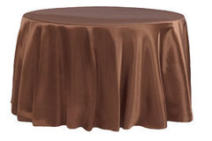 "90"" Round Satin Brown Tablecloth"