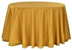 "84"" Round Poly Gold Tablecloth"
