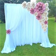 Sheer Drapes with Paper Flowers