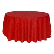 "117"" Round Crinkle Red Tablecloth"