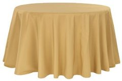 "90"" Round Poly Gold Tablecloth"