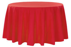 "90"" Round Poly Red Tablecloth"