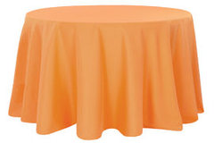 "84"" Round Poly Orange Tablecloth"