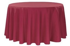 "90"" Round Poly Burgundy Tablecloth"