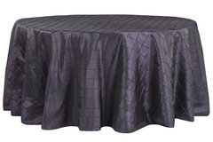 "90"" Round Pintuck Purple Tablecloth"