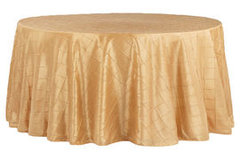 "90"" Round Pintuck Gold Tablecloth"