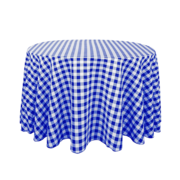 "120"" Round Checkered Blue and White Tablecloth"