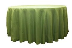 "120"" Round Poly Moss Green Tablecloth"