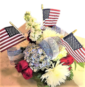 Hydrangeas & Roses with American Flags