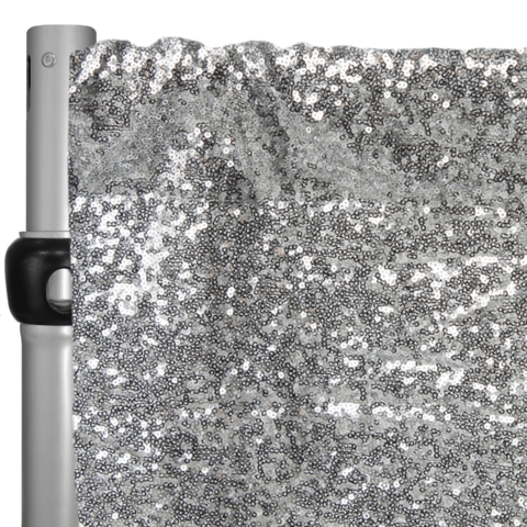 Silver Sequins Pipe & Drape- 6-10 FT