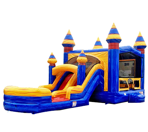 R22 - BIG Blue Double Lane Bounce House With Slide Combo