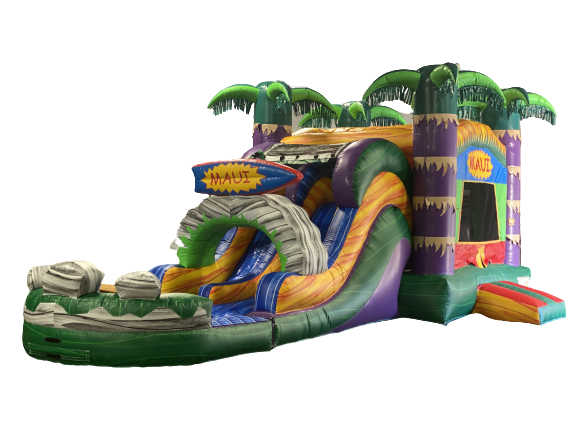 R34 - Maui Bounce House With Double Lane Slide (Wet or Dry)