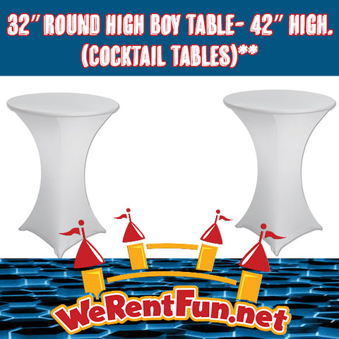 32″ Round High Boy Table- 42″ high.(Cocktail Tables)**