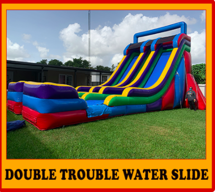 24Ft Double Trouble/ Dual Water Slide with foam