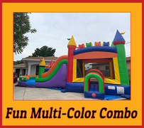 C06 The Fun Multi-Color Castle Bounce House With Water Slide (Wet/Dry) Combo  Best for ages 2+ Space Needed 38 L x 20 W x 20 H