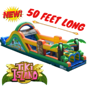 OC02 50FT TIKI ISLAND OBSTACLE COURSE Best for ages 5+ Space Needed 56 L x 20 W x 18 H
