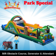 "<font color=Green><b>P15 <font color=Grey><b> Park Package # 15 - 50ft TIKI ISLAND OBSTACLE COURSE <span style=""color:#ff0000;"">  <strike> $475</strike> </span>"