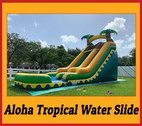 S01 18FT Aloha Tropical Water  Slide With Pool  Best for ages 5+ Space Needed 34 D x 20 W x  22 H