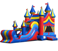 R33 The Big Top Double Lane Wet or Dry Combo With XL PoolBest for ages 2+ Space Needed 38' L  X 17' W X 20' H