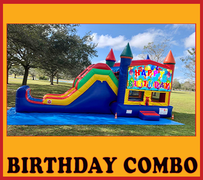 C01 Happy Birthday Bounce House With Water Slide Dry ComboBest for ages 2+ Space Needed 36 L x 20 W x 20  H