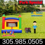 "Park Package # 2 (Crossover Rainbow Bounce House)  <span style=""color:#ff0000;""> <strike> $225 </strike> </span>"