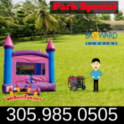 "Park Package # 3 (Crossover Rainbow Bounce House)  <span style=""color:#ff0000;""> <strike> $225 </strike> </span>"