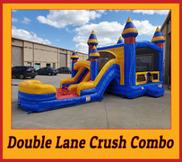 C25 Double Lane Crush Bounce House With Water Slide (Wet/Dry) Combo Best for ages 2+ Space Needed 37 L x 19 W x 18 H