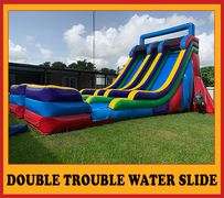 S13  24ft Double Trouble/ Dual Water Slide  Best for ages 5+ Space Needed 42' D x 26 W' x  27'H