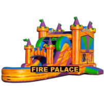 R42 - The Fire Palace Bounce House With Double Lane Slide (Wet/Dry)