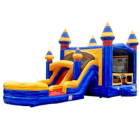 R22 - BIG Blue Double Lane Bounce House With Slide