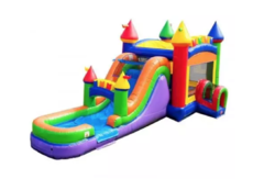C06 The Fun Multi-Color Castle Bounce House With Slide (Wet/Dry) Combo  Best for ages 2+ Space Needed 38 L x 20 W x 20 H