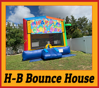 B08   Happy Birthday Bounce House  Best for ages 2+ Space Needed 18 D x 18 W x 18 H