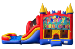 C01 Happy Birthday Bounce House With Slide (Wet/Dry) ComboBest for ages 2+ Space Needed 36 L x 20 W x 20  H