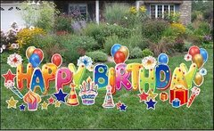 "H4  24"" Deluxe Happy Birthday Yard Sign 2  24 Hours Rental Delivery Fees May Apply"