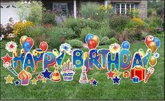 "H5  24"" Deluxe Happy Birthday Yard Sign 3  24 Hours Rental Delivery Fees May Apply"