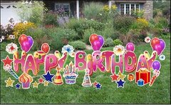 "H3  24"" Deluxe Happy Birthday Yard Sign 1  24 Hours Rental Delivery Fees May Apply"