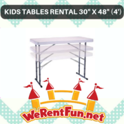 "Kids Tables Rental 30""x 48"" (4')"