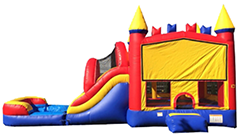 C13 Mega Multi-Color Bounce House With Slide (Wet/Dry) Combo Best for ages 2+ Space Needed 36 L x 19 W x 20 H
