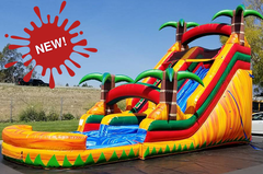 <font color=Green><b>S06<b><font color=red><b> 18FT Tropical Fire - Water  Slide  </font><br><small>Best for ages 5+<br> <font color=blue>Space Needed 40 D x 27 W x 21 H</font></b></small>