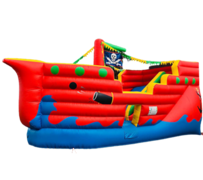 R14 Pirate Ship Bounce House With Slide and obstacles inside