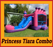C08 Princess Tiara Bounce House With Water Slide (Wet/Dry) Combo  Best for ages 2+ Space Needed 30 L x 19 W x 20 H