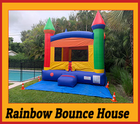B03 Crossover Rainbow Bounce House  Best for ages 2+ Space Needed 15 D x 16 W x 18 H