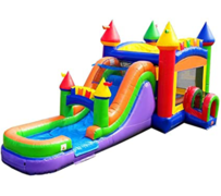 R35 The Fun Multi-Color Castle Bounce House With Slide (Wet/Dry)