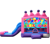 Happy Birthday Princes Bounce House With Slide (Wet/Dry)