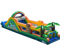 R44 - 50' TIKI ISLAND OBSTACLE COURSE With Water Slide (Wet)