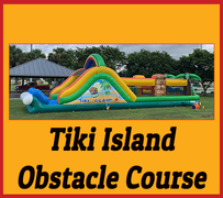 OC04 50FT TIKI ISLAND OBSTACLE COURSE With Water Slide Best for ages 5+ Space Needed 56 L x 20 W x 18 H
