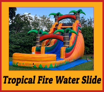 S04 18FT Tropical Fire - Water  Slide with XL Pool ( Family Friendly )  Best for ages 5+ Space Needed 40 D x 27 W x 21 H